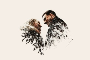 Bride and groom in a double exposure photograph
