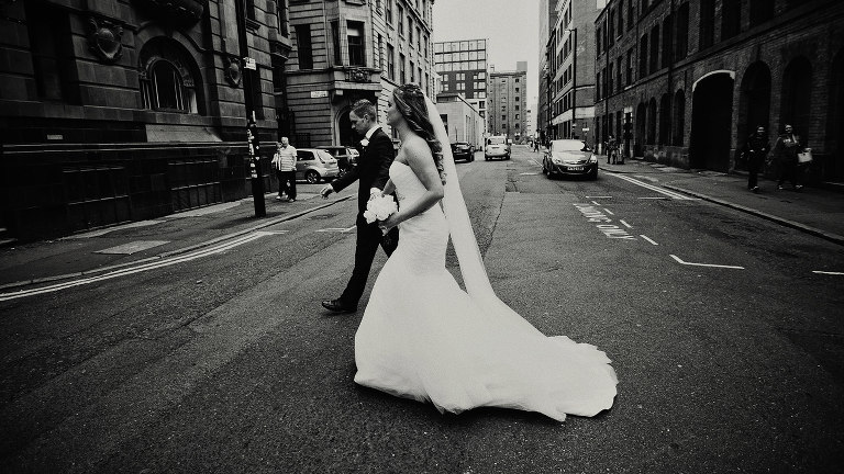 Manchester wedding photographers with couple in the northern quarter