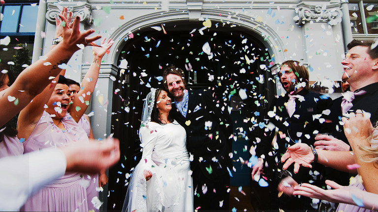 oddfellows wedding photograper with confetti throwing in chester