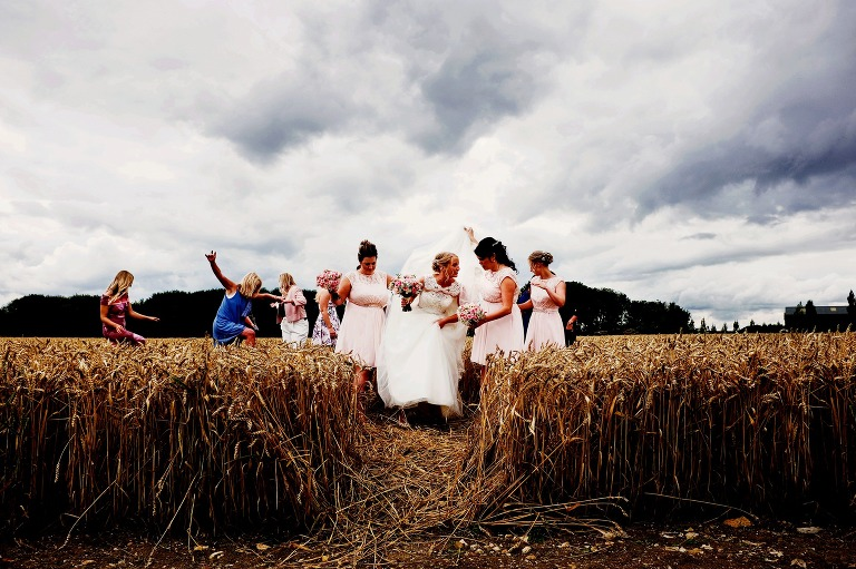Bassmead Manor Barns wedding with bride and bridemaids in the corn field