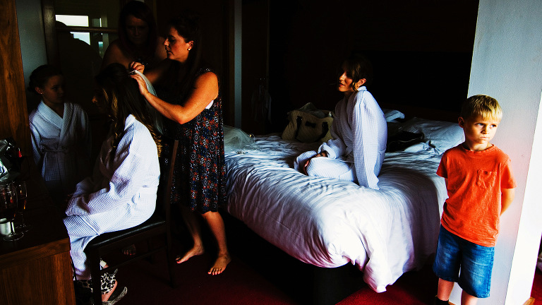Bridal preparations for a city wedding at The Place Aparthotel in Manchester