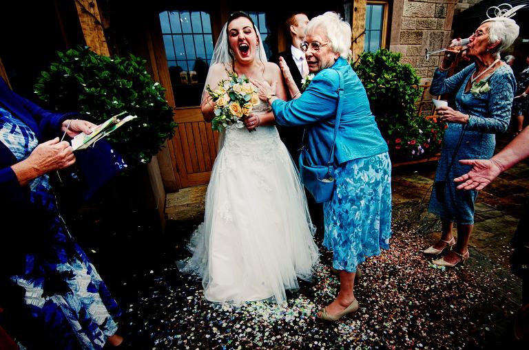 Confetti at a wedding at Heaton House Farm