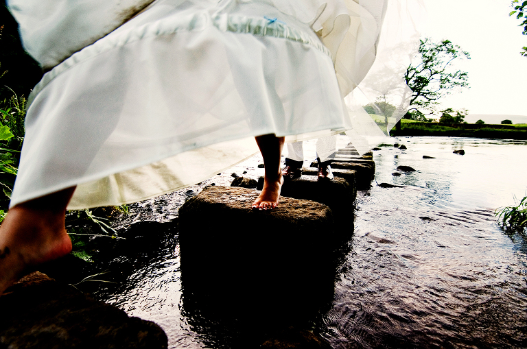 Barefoot bride at The Inn At Whitewell