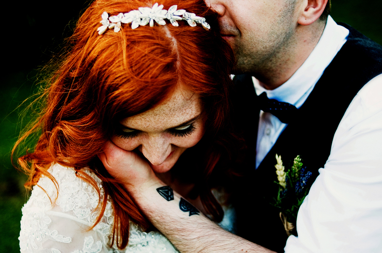 Beautiful red hair on a wedding portrait