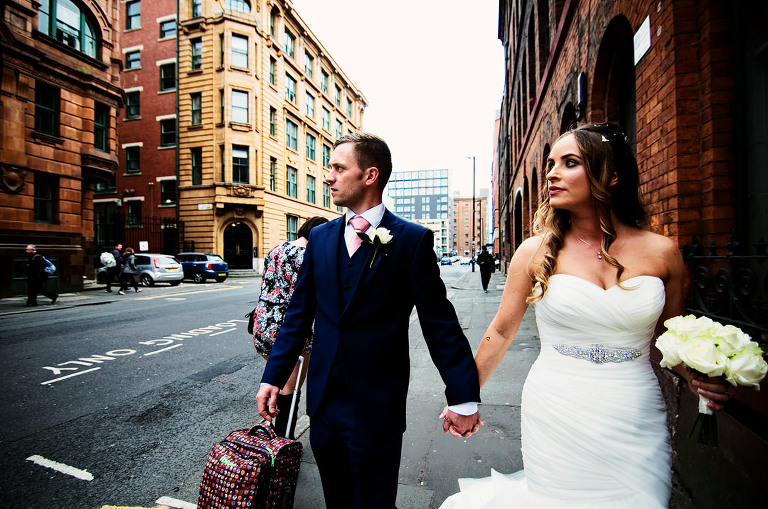 Bride and groom in the Manchester Northern Quarter